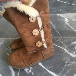 UGG Shoes - Ugg boots size 9 tan tall 3 button
